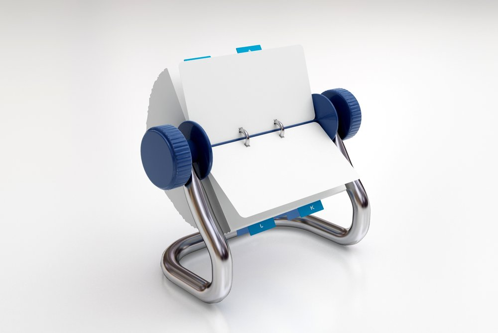 Rolodex open rotary business card holder.