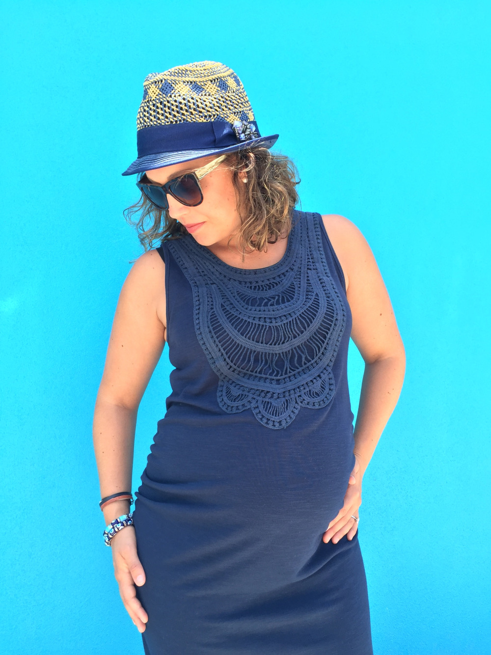 maternity, maternity dress, maternity outfit, navy blue maternity dress
