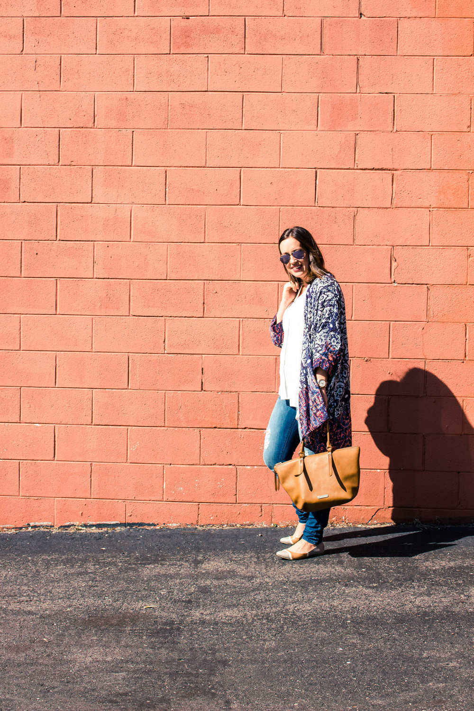 kimono outfit with distressed denim
