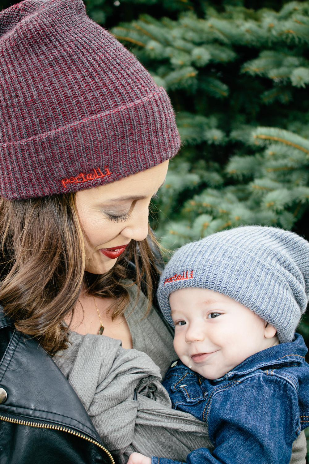 matching beanie hats with baby