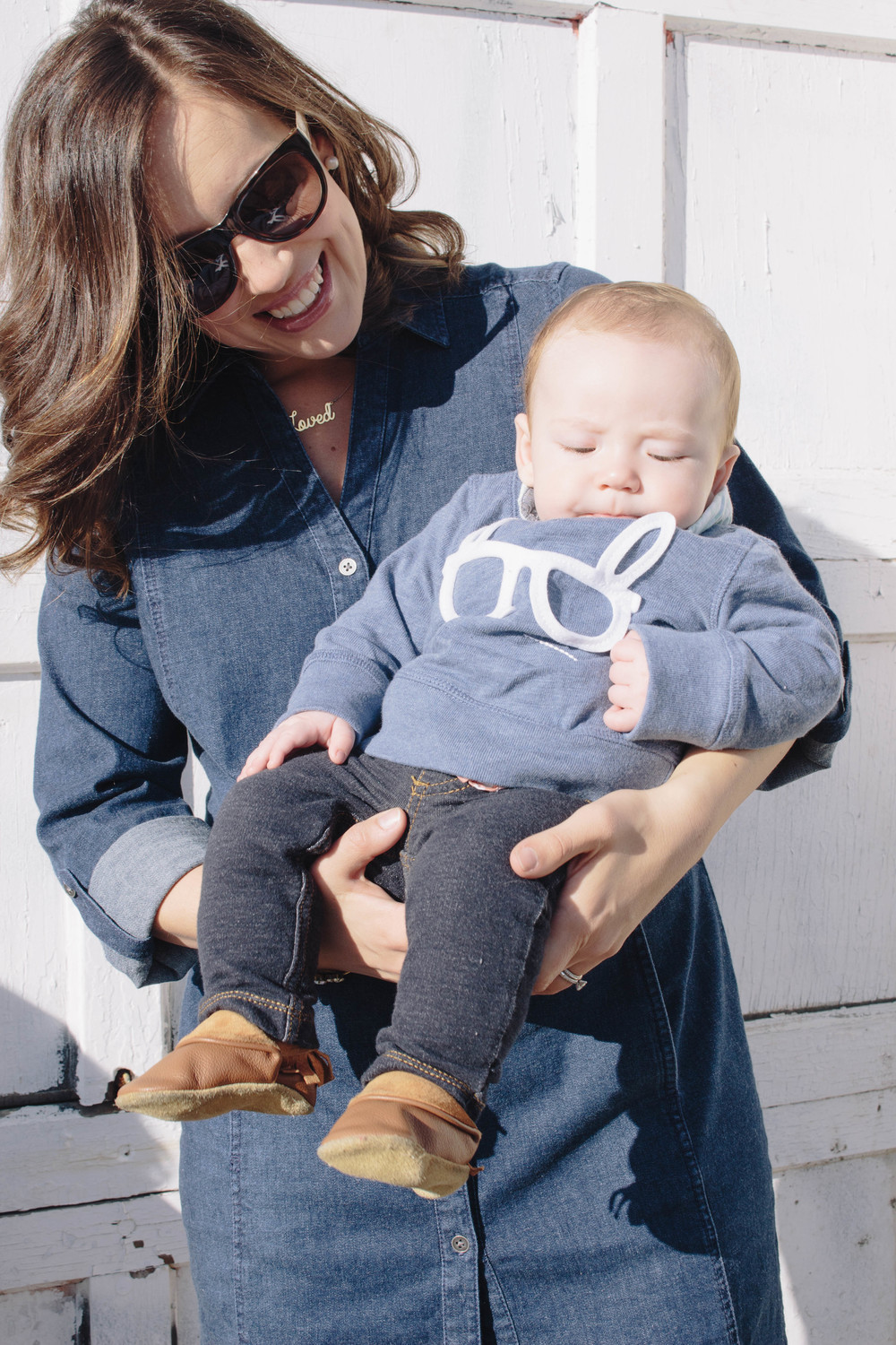 little dude outfit, denim dress with booties, chambray outfits, dressing your kids fashionably, classic wear for kids, preppy, sundays best, h&m fashion for kids and adults, jewelry with wording, pearl earrings,