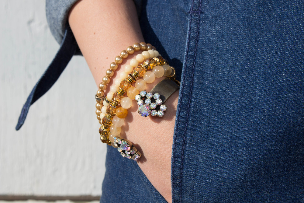 stackable bracelets, denim dress, preppy, holiday outfit ideas,
