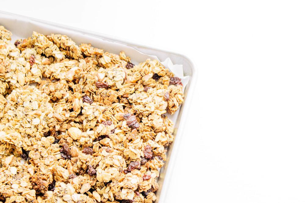 sea salt and honey almond granola, how to make granola, granola, healthy snacks, yogurt, old fashioned oats, chia seeds, flax seeds, almonds, olive oil, honey, vanilla, cinnamon, sea salt, raisins, granola recipe,