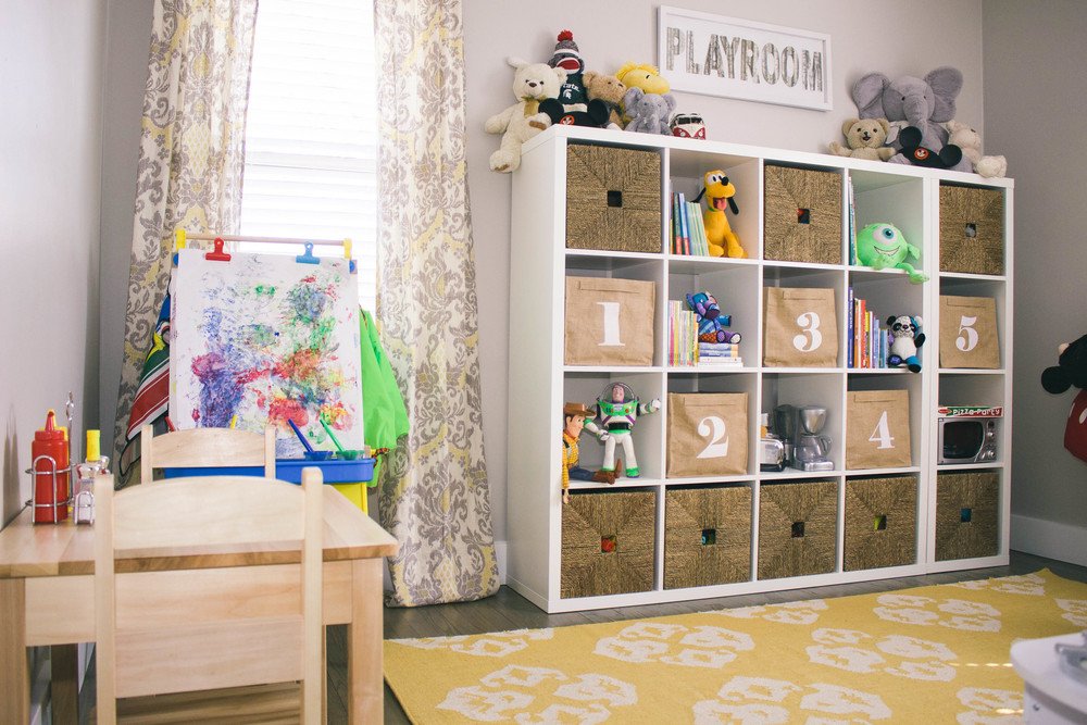 playroom, basket, home decor, toy story toys, paint easel, numbered bins, toy storage