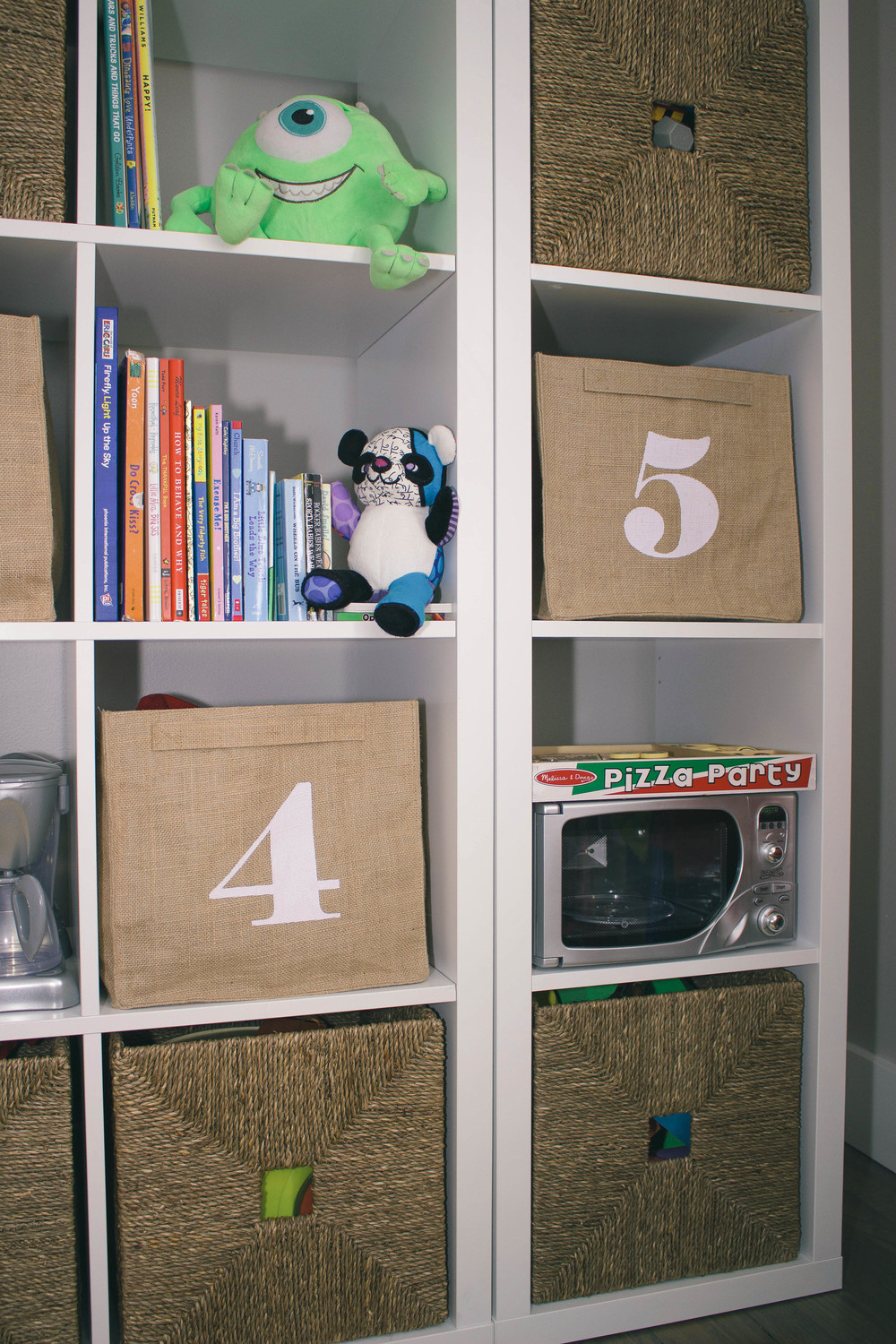 playroom storage, playroom, basket, home decor, toy story toys, paint easel, numbered bins, toy storage, monsters inc toys