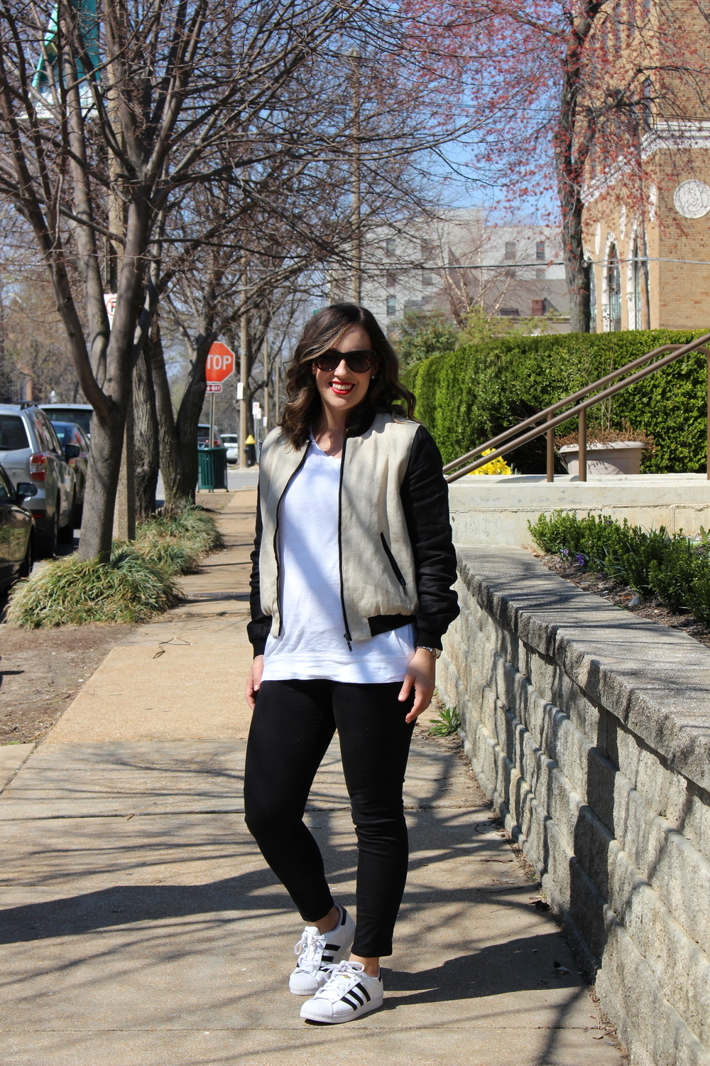 super stars, bomber jacket, how to dress up a white tshirt, how to shop at marshalls, j.crew factory, gap, adidas, spring bomber jacket, the perfect bomber jacket for an everyday look, neutral tone outfits, how to wear sneakers and jeans, the perfect red lip,