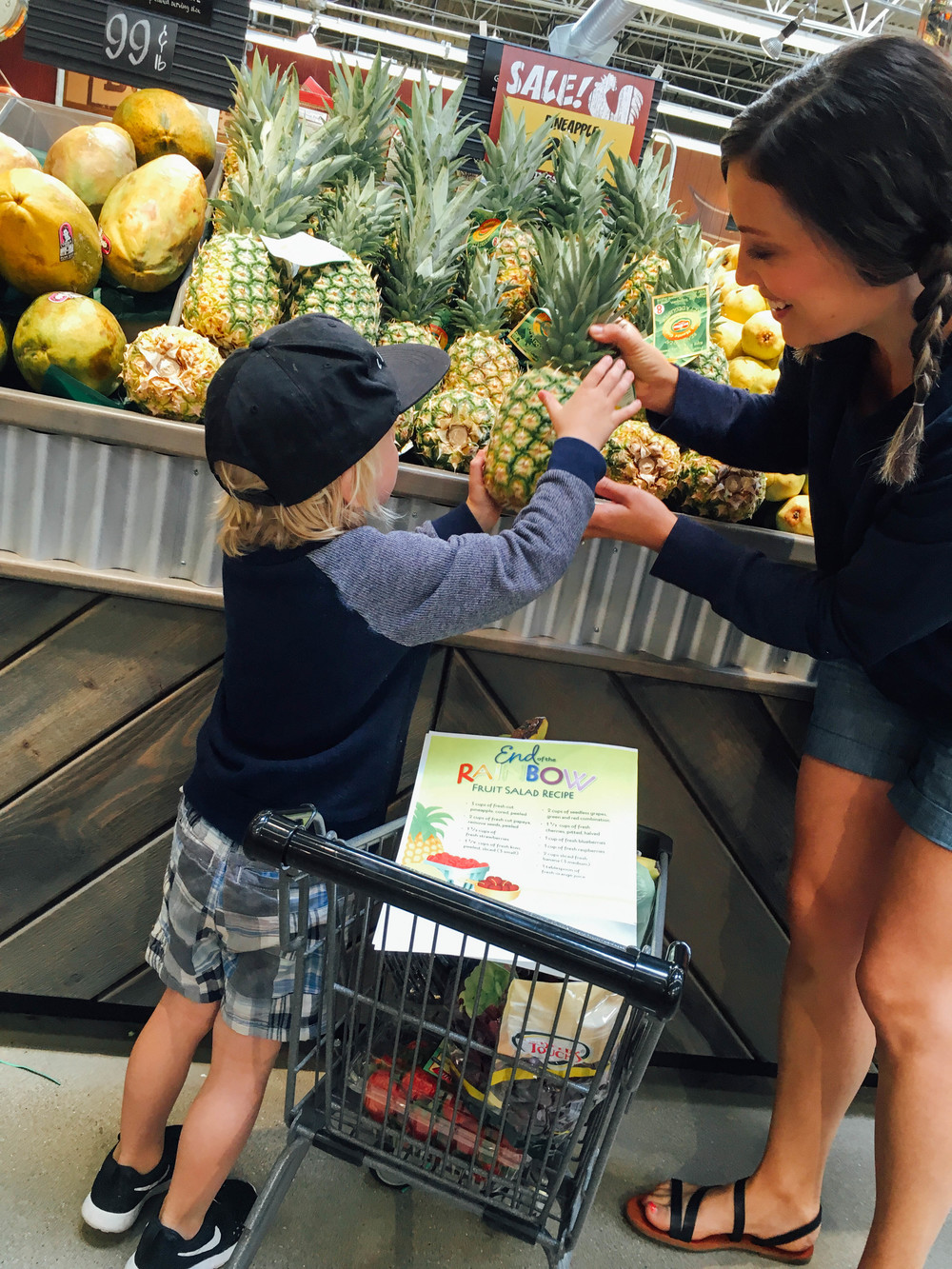 how to make a fruit salad with kids, shopping for fruit, pineapples