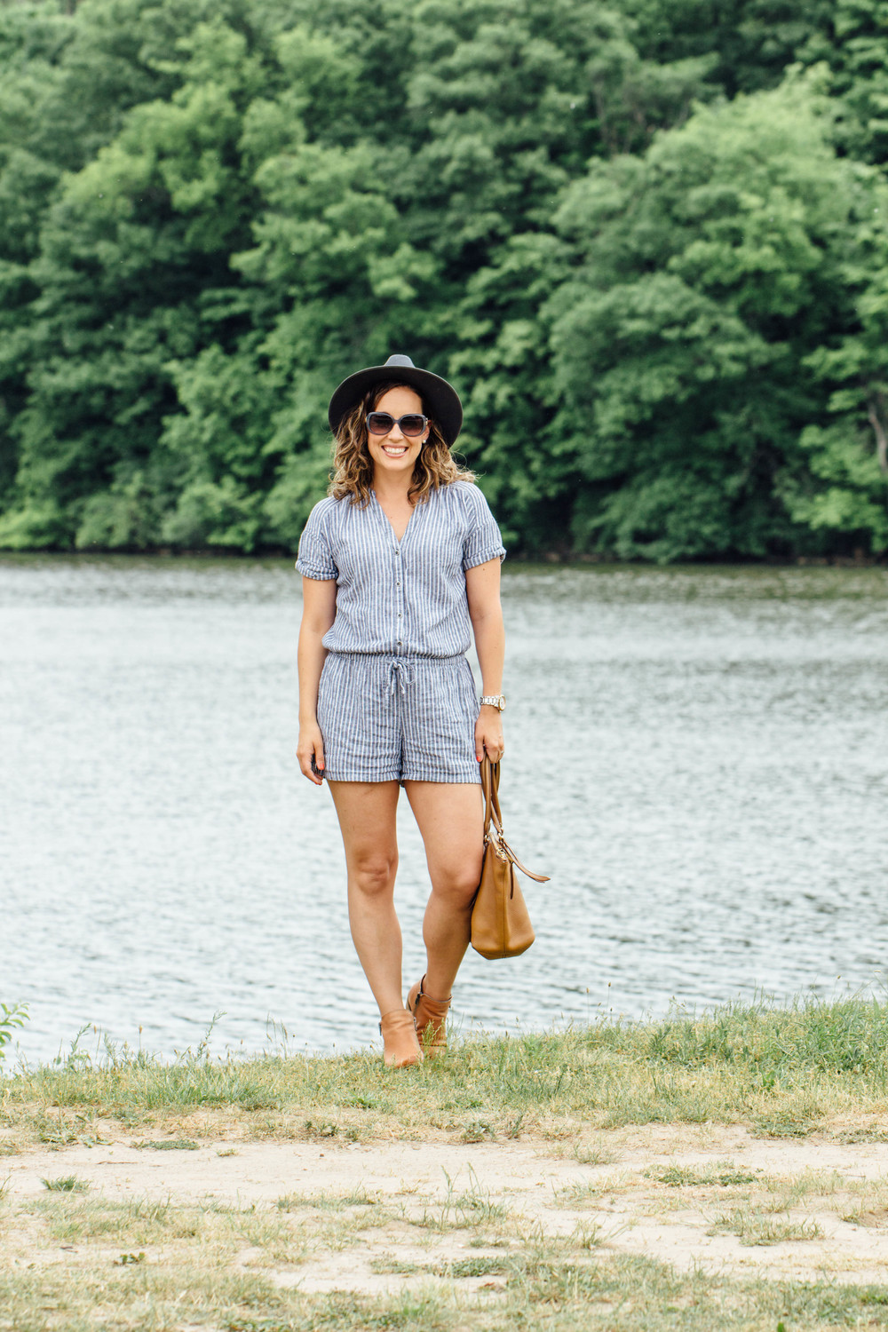 stripe romper outfit for summer or fall, summer outfit ideas, chambray stripe romper outfit, linen romper, old navy, style save, grey hat, lucky booties, boohoo hat, romper, rompers for women, old navy style, preppy,