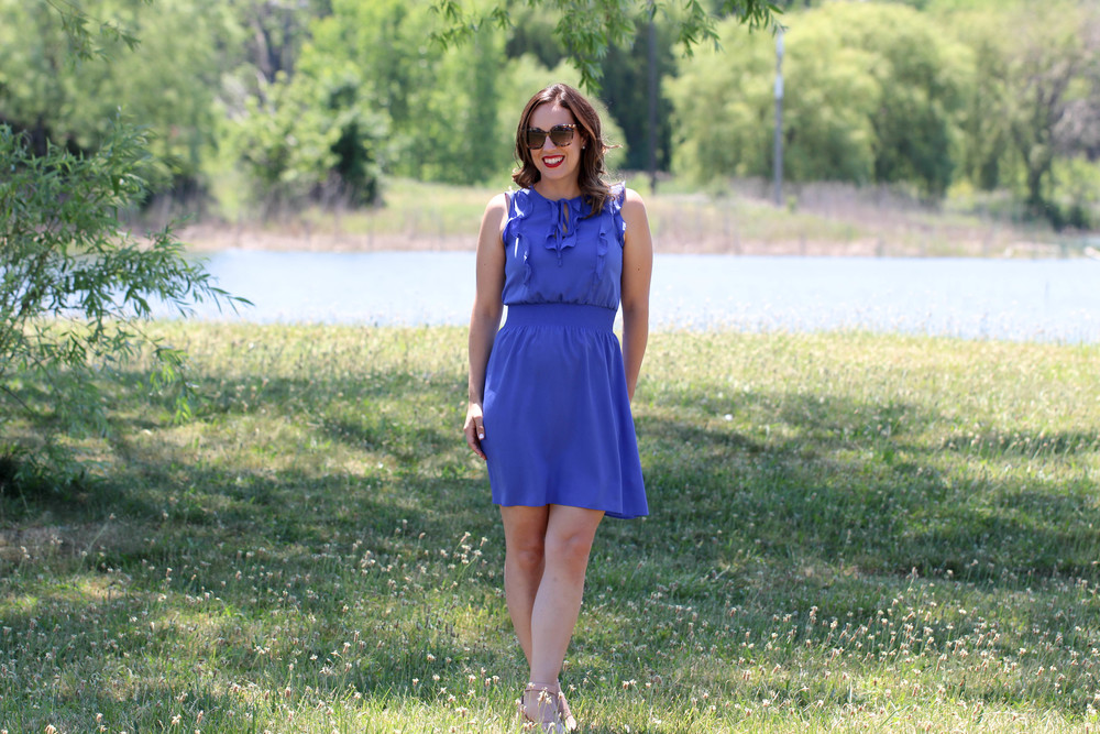 fourth of july, ootd on the fourth of july, red white and blue, how to wear red white and blue, stripes, red lipstick, tortoise shell sunglasses, blue dress,