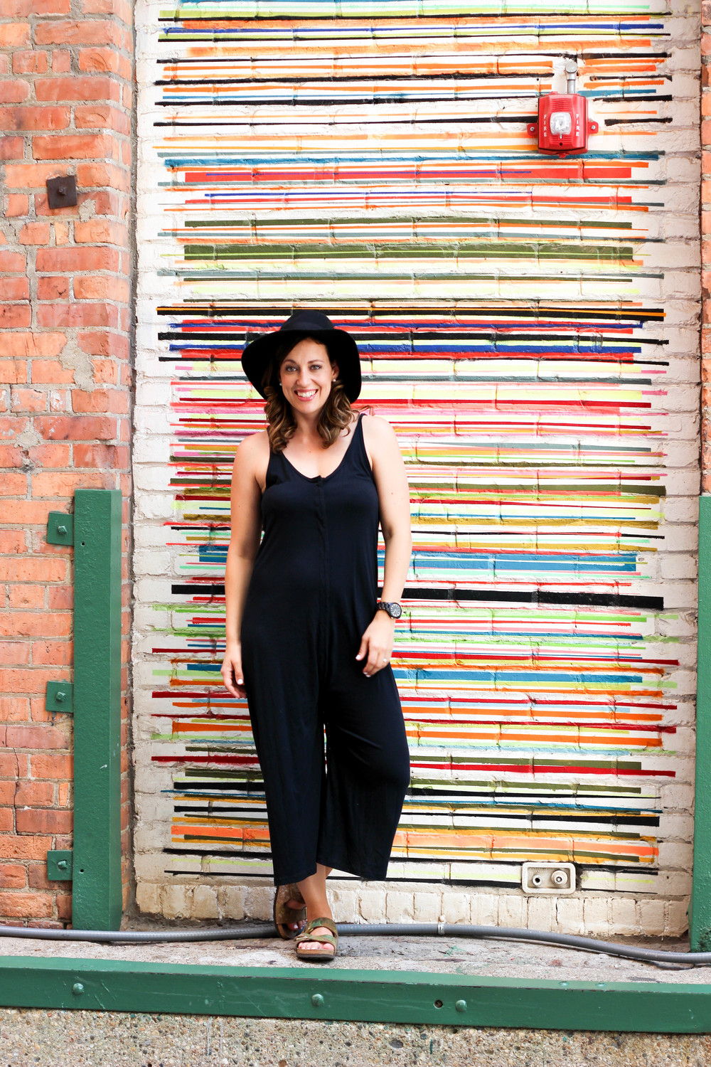 black jumper with birkinstocks, how to style birkenstocks, all black outfit, black ootd, perfect day to night outfit, one piece outfit, black watch, black floppy hat, how to style floppy hats, life update, womens fashion,