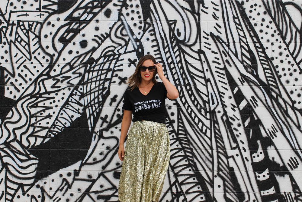 sparkle skirt, sequin skirt, everyone loves a sparkly girl, michigan made, small moments, michigan products, outfit of the day, how to wear a sparkly skirt, sequin skirt outfit
