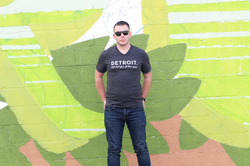 mens wear, tee shirt outfit, detroit