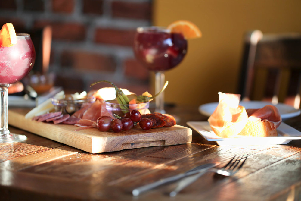 sangria, live local, eat local, detroit food, great eats in detroit, charcuterie board, patatas bravas and steak, red paper sauce, meat and potatoes, chorizo and berenjenas fritas, paprika-wine sausage, grubabble,