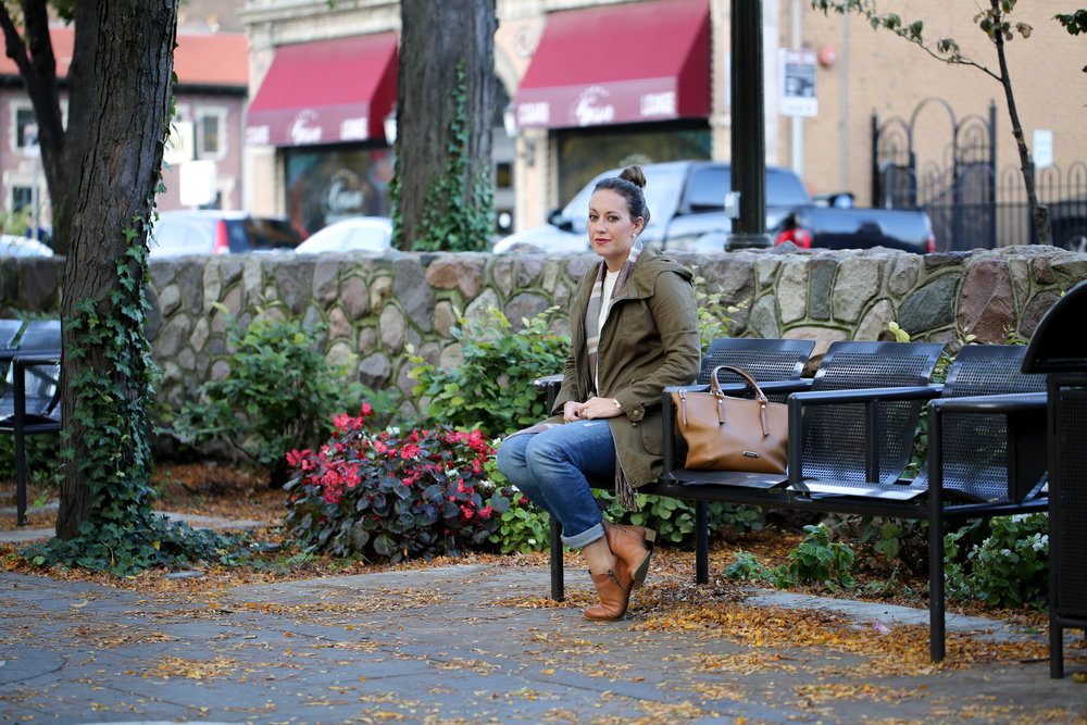 fall outfit of the day, fall layers, army jacket, life update, olivia james apparel, seasons changing,