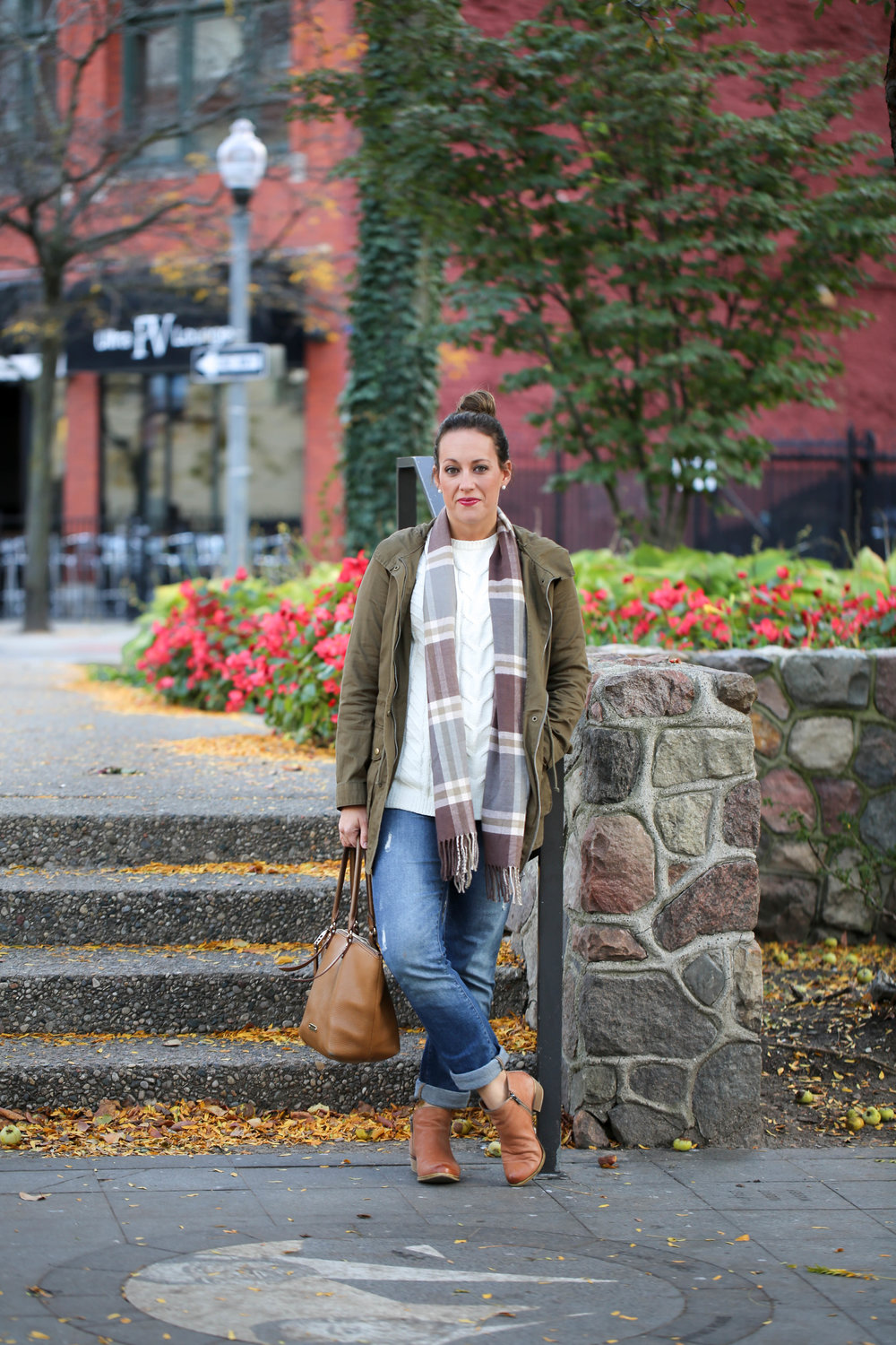 green jacket outfit with layers for fall,fall outfit of the day, fall layers, army jacket, life update, olivia james apparel, seasons changing, red lipstick, finding the perfect jacket, layering with scarves,