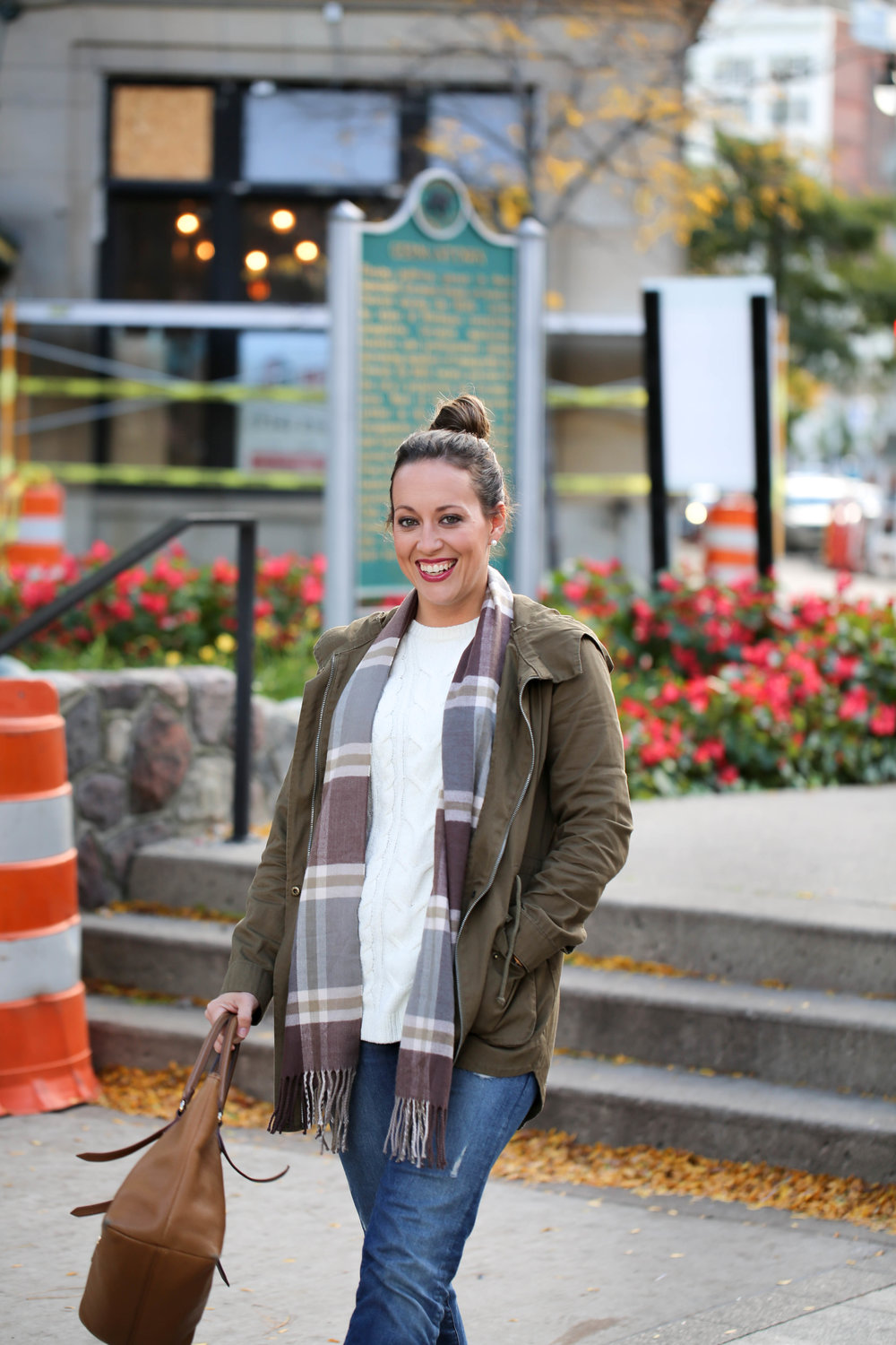 fall layers with cream sweater, scarf & green jacket, plaid, cream crew neck sweater, fall outfit of the day, fall layers, army jacket, life update, olivia james apparel, seasons changing,