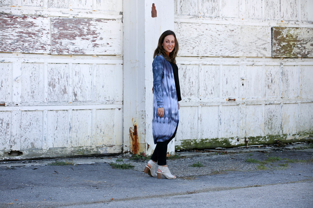 brightlytwisted, long cardigan, statement cardigan, dip dye, how to wear tie dye, wearing long cardigans, layering for fall, nude booties,