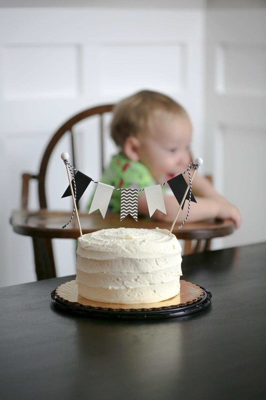 black and white smash birthday cake