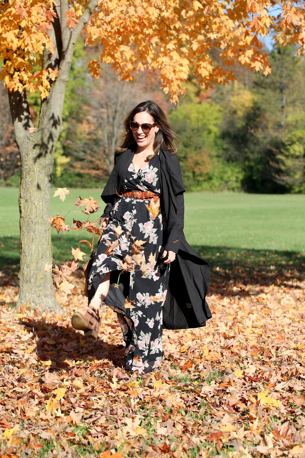 fall floral, maxi dress outfit, outfit of the day, fall florals, floral dress, long black cardigan, versatile pieces, womens fall fashion,