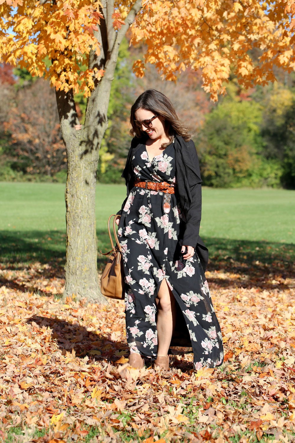 floral maxi dress outfit, fall layers, fall fashion, florals for the fall, how to wear floral during fall, belt with dress,
