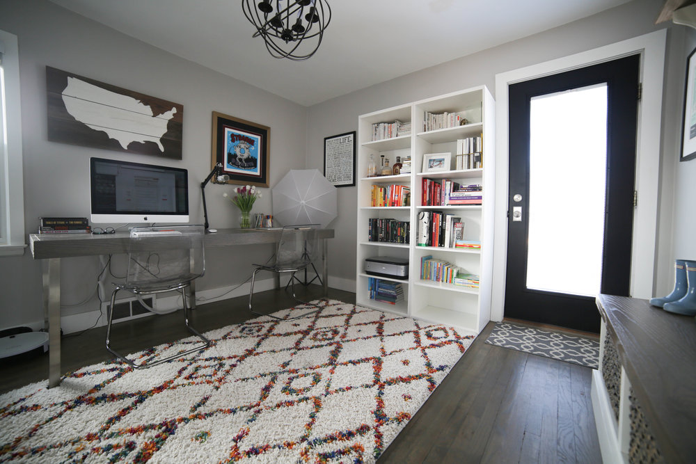 home office, book shelf, color book shelf, rugs usa rug, black door