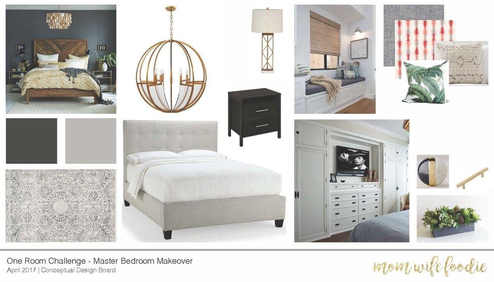 Master Bedroom Vision board, concept board, design board, master bedroom