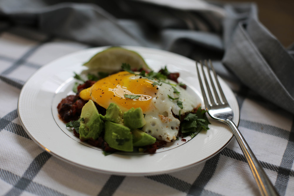 sunny side up egg, avocado, black beans, chorizo, mexican style, breakfast, spicy breakfast