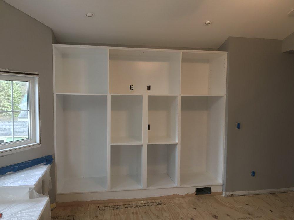 white bedroom built in