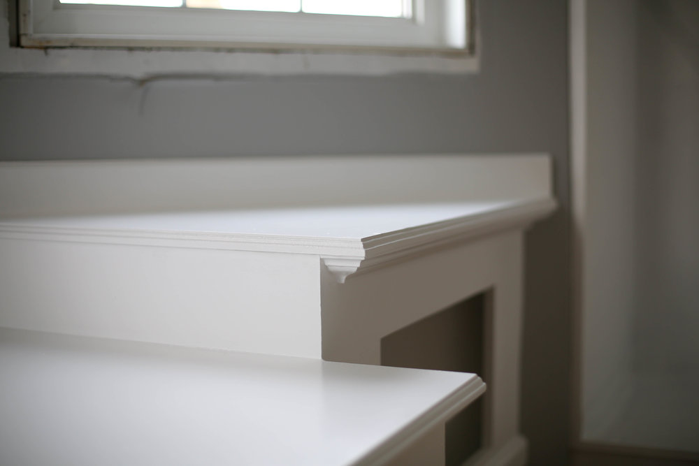 white bedroom built in, refinish drawers, new hardware, resize drawers for new hardware, white paint