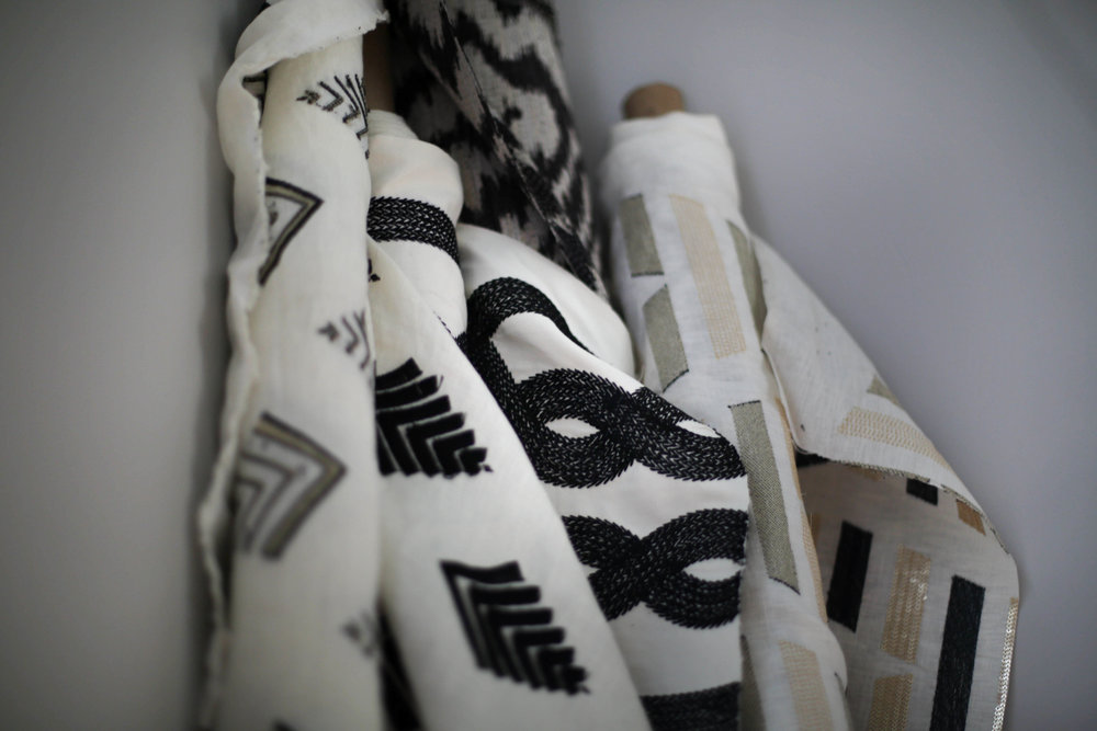 kravets black and white fabric