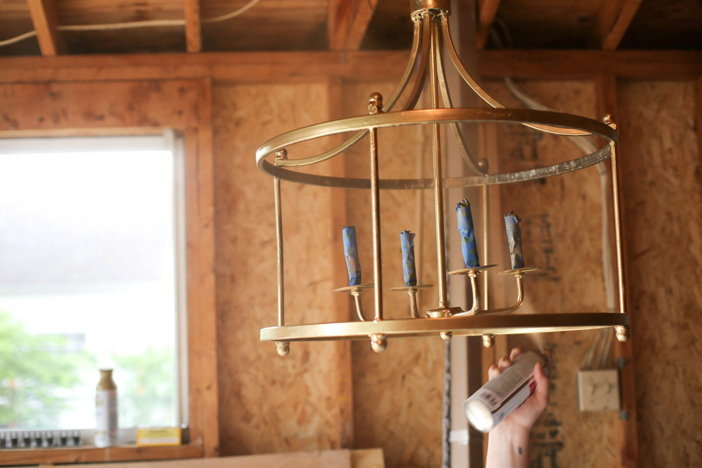Gold Spray paint, Chandelier, how to spray paint a Chandelier