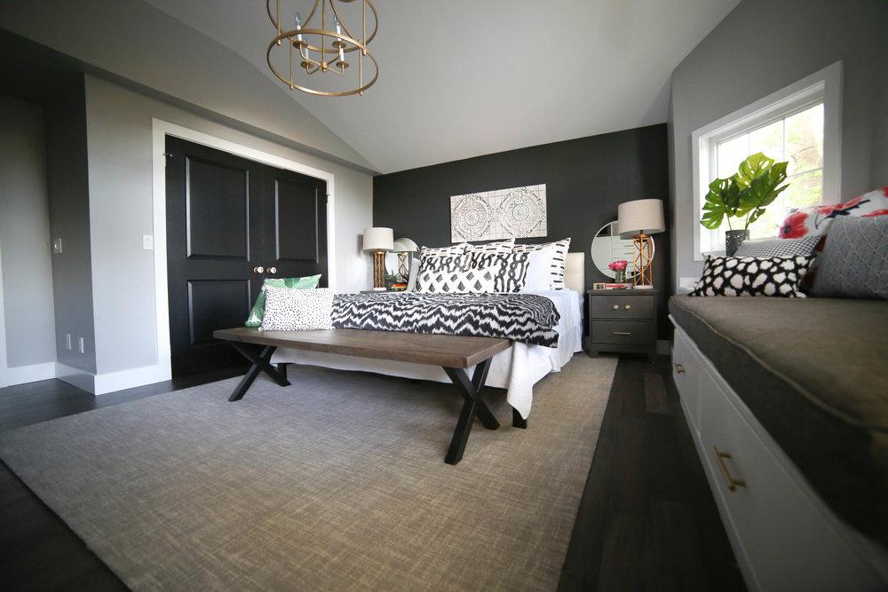 Master Bedroom, Black Accent Wall, Gold Chandelier, Master Bedroom Retreat,  Rustic Bedroom