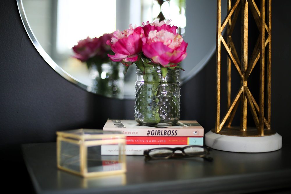 peonies, night stand, books