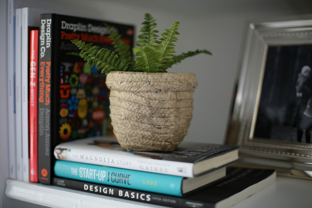 books, fern, built in, styled built in shelf