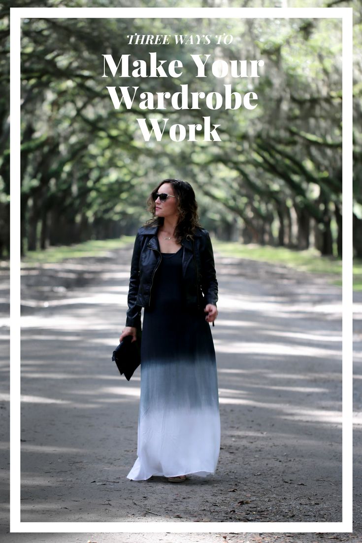 maxi dress outfit, how to make your wardrobe work, make the most out of a small closet, living large with a little wardrobe, tie dye maxi dress, maxi dress for women, leather jacket, versatile pieces, how to make your style last longer, getting creative with your clothes,
