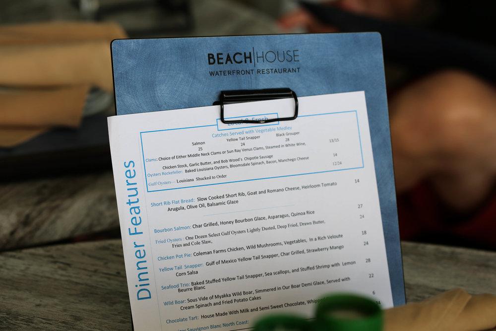 menu at beach house