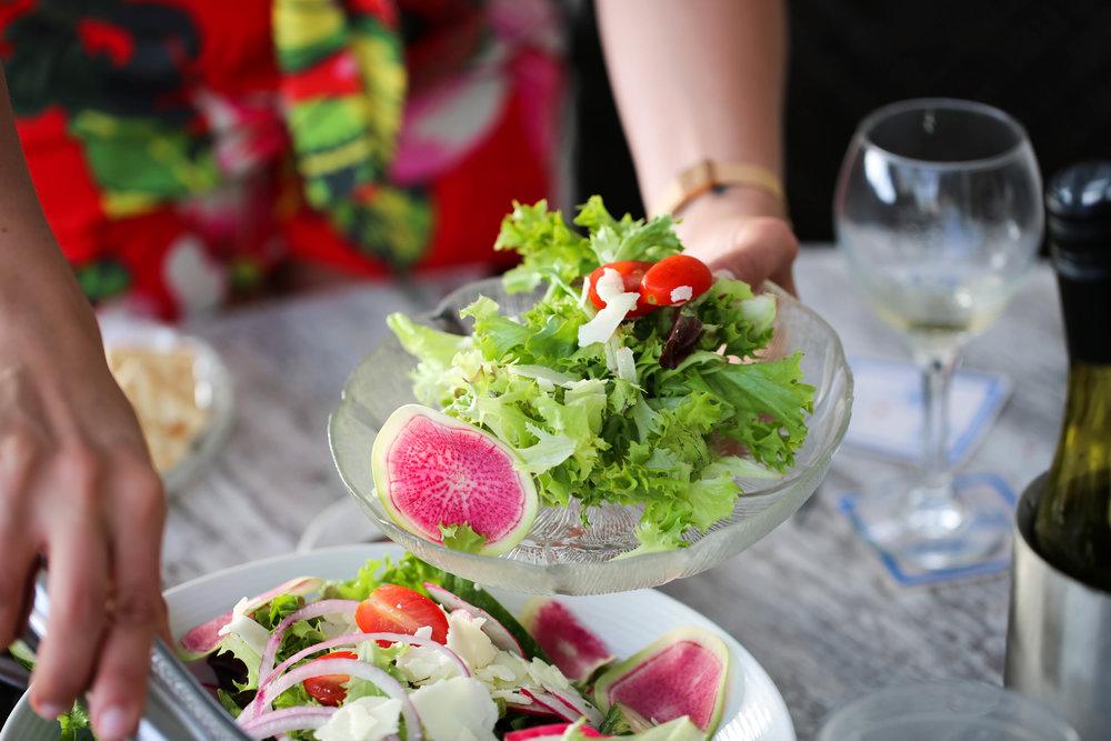 fresh salad and watermelon radishes