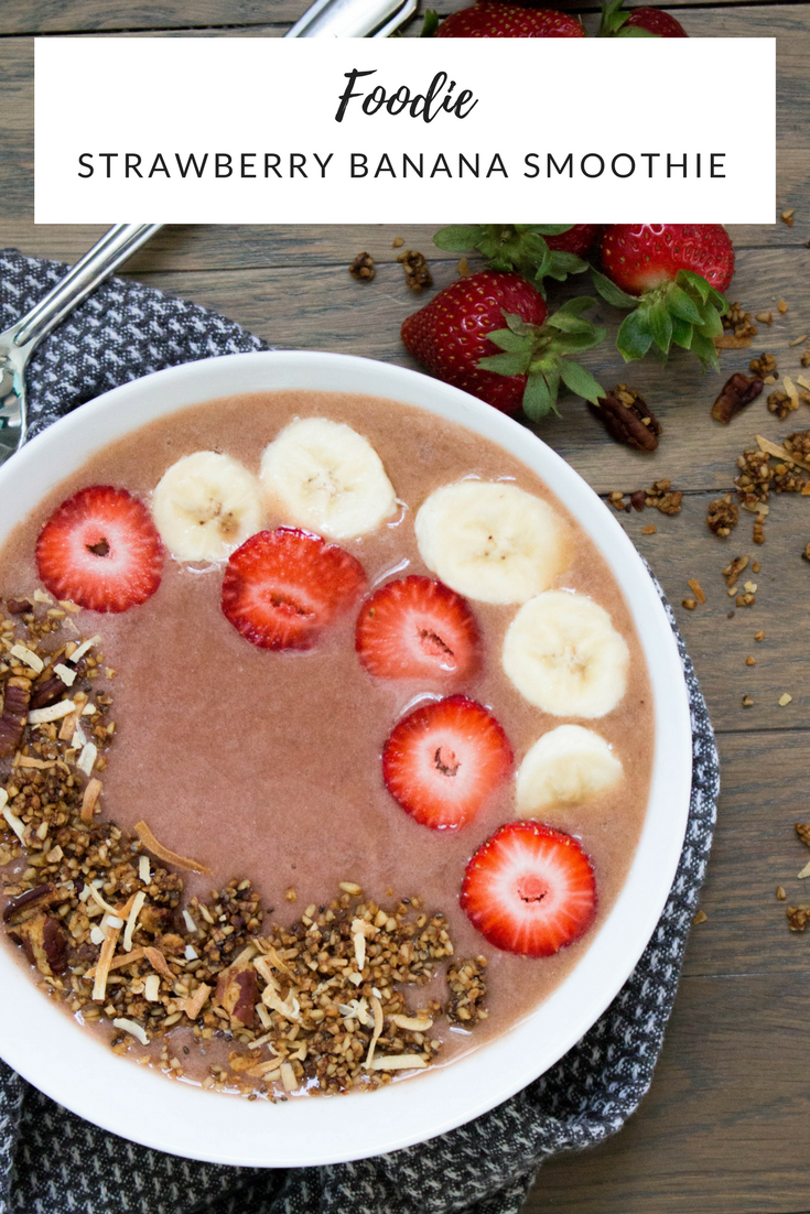 strawberry banana smoothie, strawberry banana smoothie bowl,  smoothie bowl ideas, how to make a smoothie bowl, smoothie bowl recipe, healthy snacks, the perfect smoothie bowl, coconut water, spinach, frozen banana, frozen strawberries, chia seeds, granola, fresh bananas, fresh strawberries,
