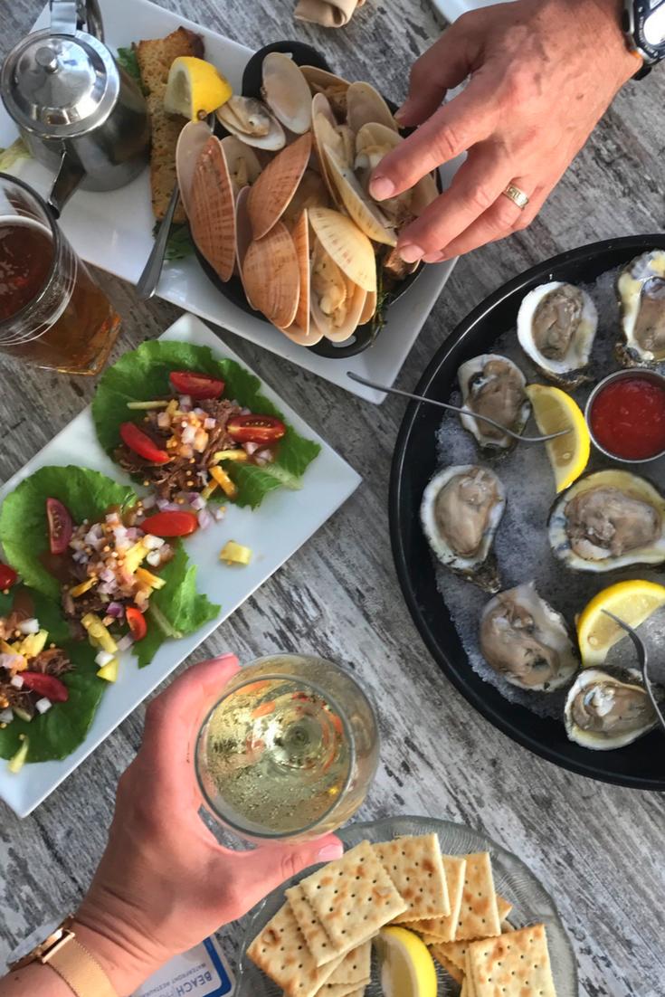 Beach House Food, Beach Food, Oysters, Wine, Beer, Wraps, Clams, Seaside food