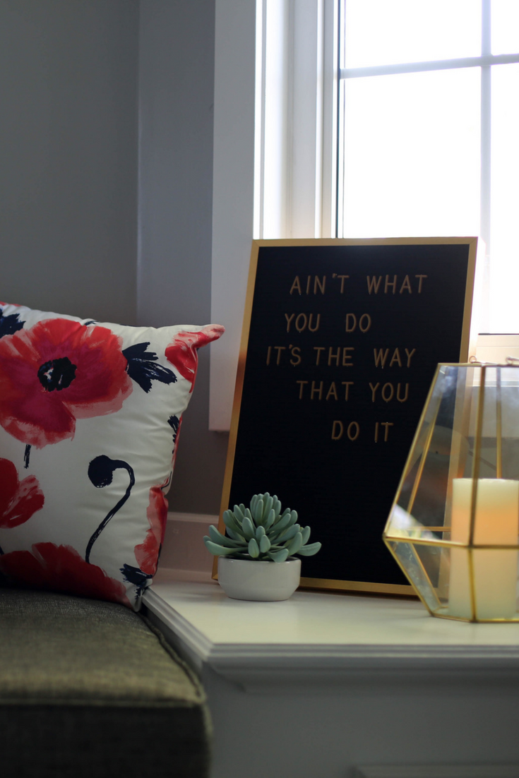 letter board, window seat, master bedroom, succulent, candles, kate spade fabric