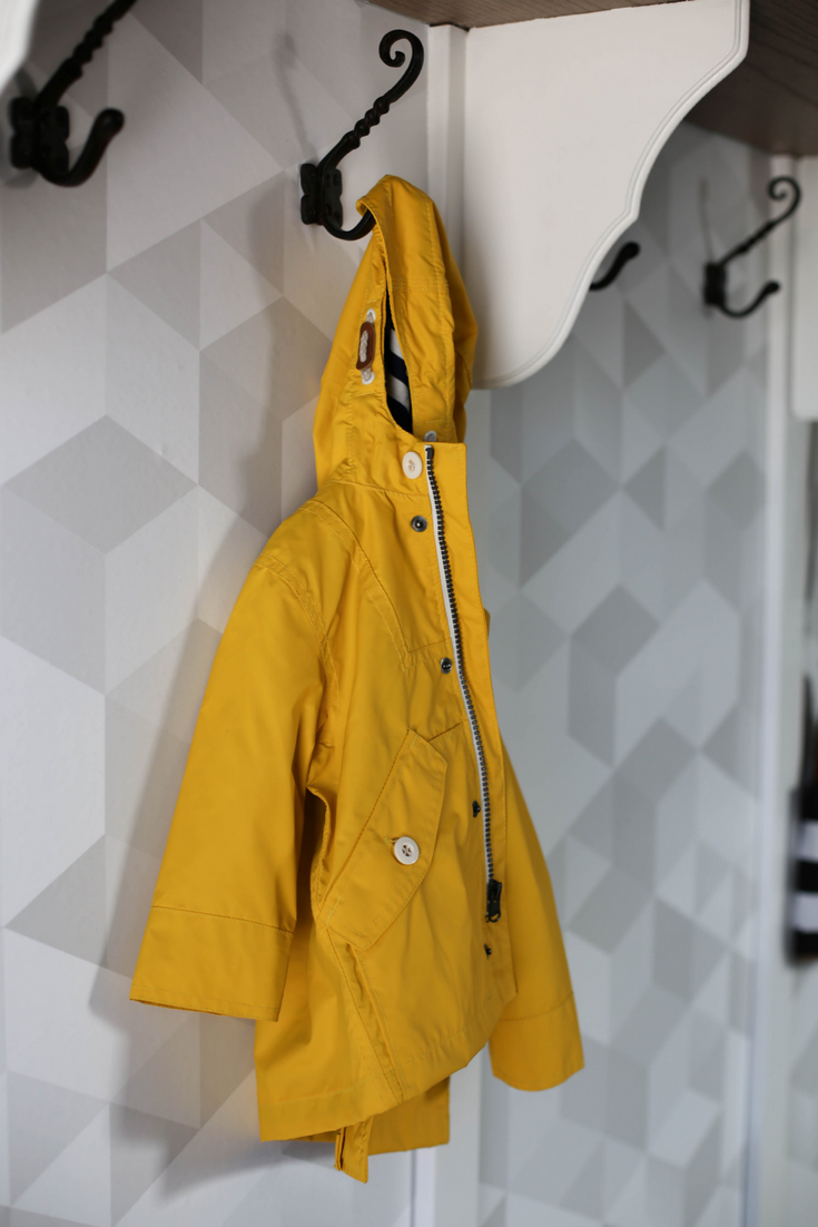 yellow raincoat, mudroom