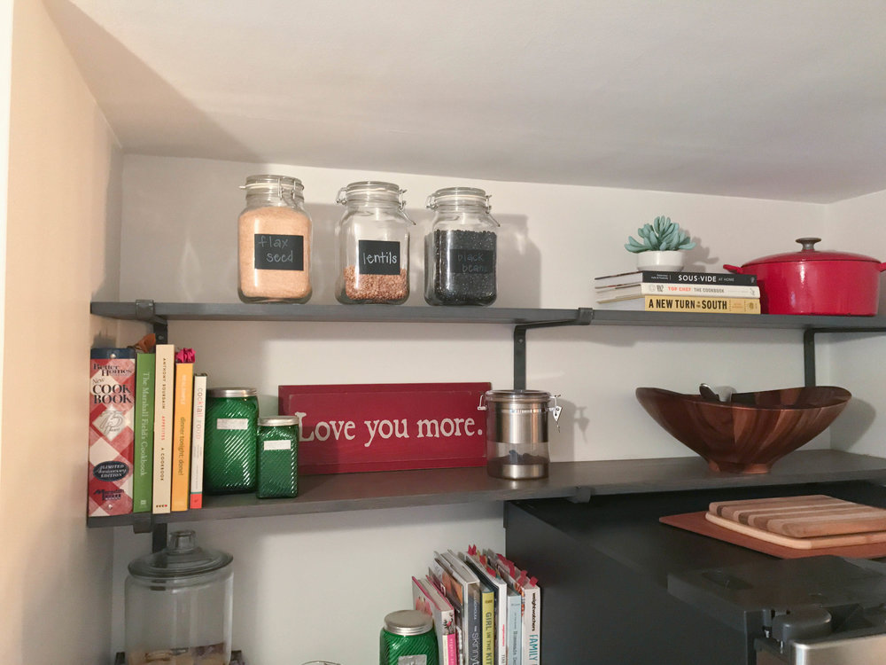 open shelving, gray open shelving, kitchen open shelving, cook books, vintage storage jars, glass storage jars, kitchen shelves, open kitchen shelving, wooden salad bowl