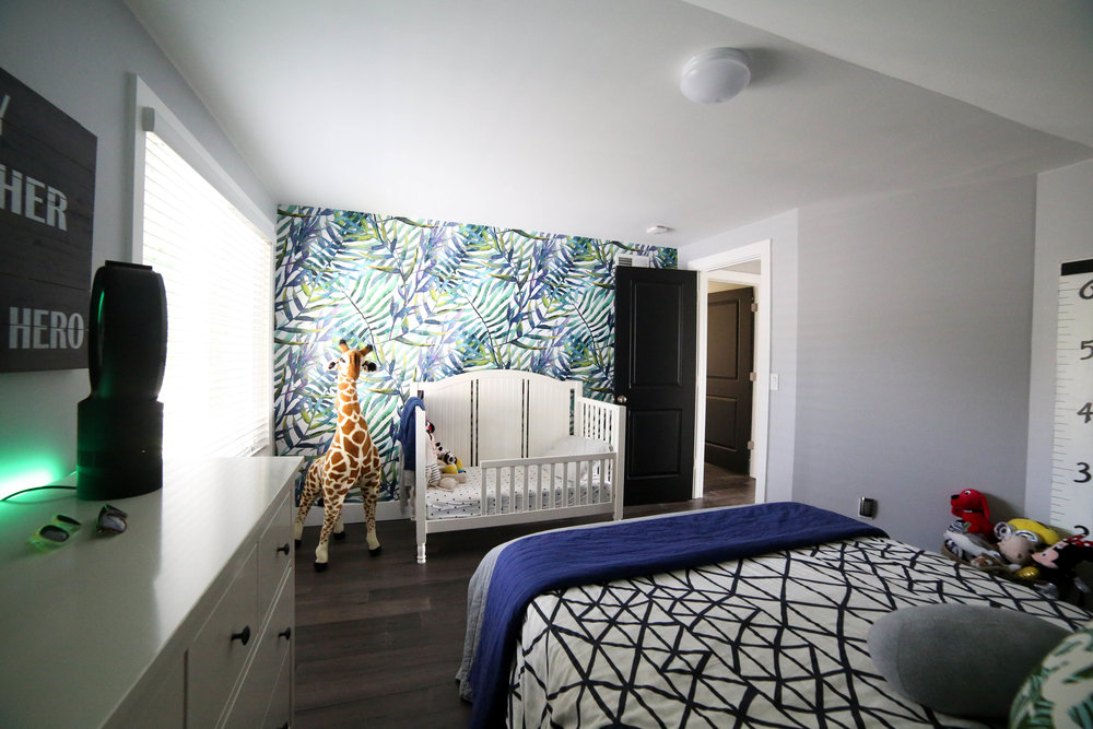 how to add character to any kids room, mural, shared boys room, shared kids room, leaves wall, toy