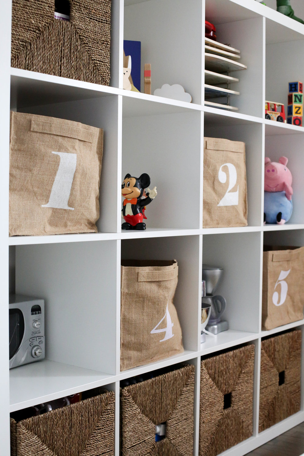 how to add character to any kids room, toy storage, number bins, toys, how to store toys, playroom, kids room, storage, toy storage