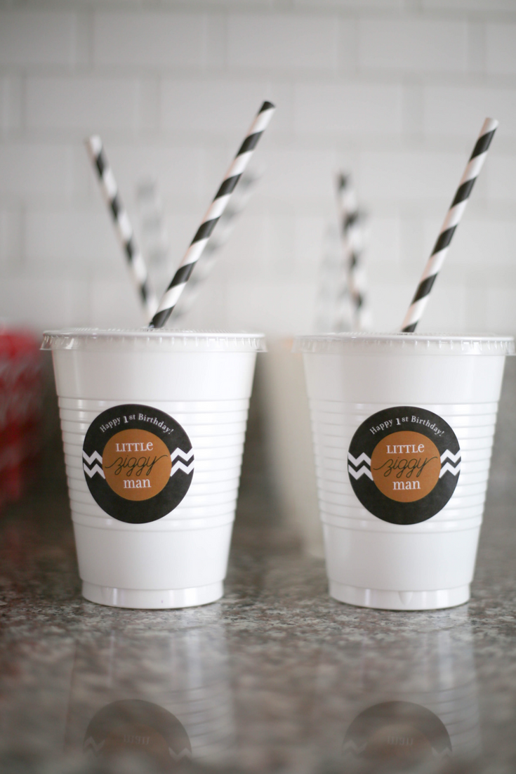 first birthday party, black and white birthday party, black and white straws, party cups