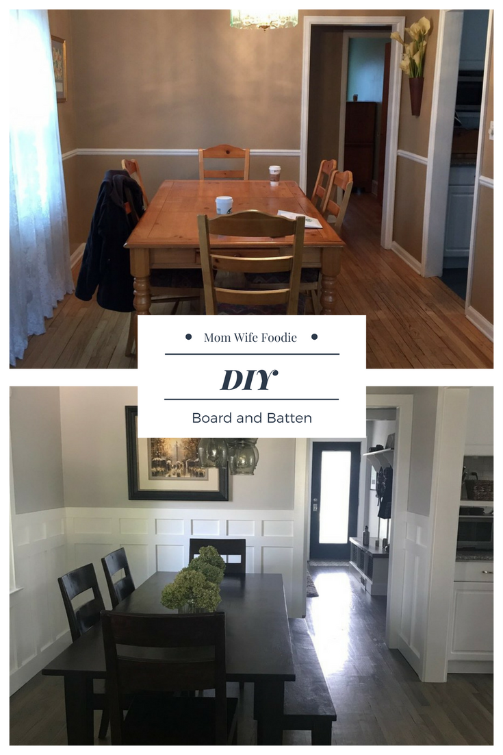 DIY board and batten, pottery barn light, crate & barrel table, diy, board and batten, white and gray dining room, dining room makeover, how to make board and batten