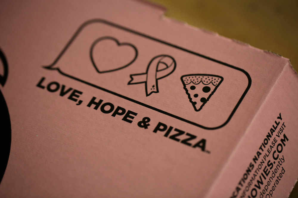 love hope and pizza breast cancer awareness