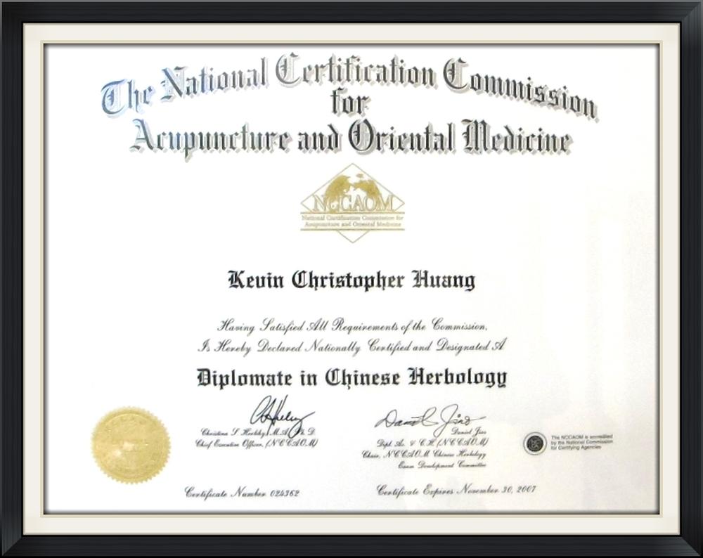 NCCAOM Dr. Kevin Huang Herbology
