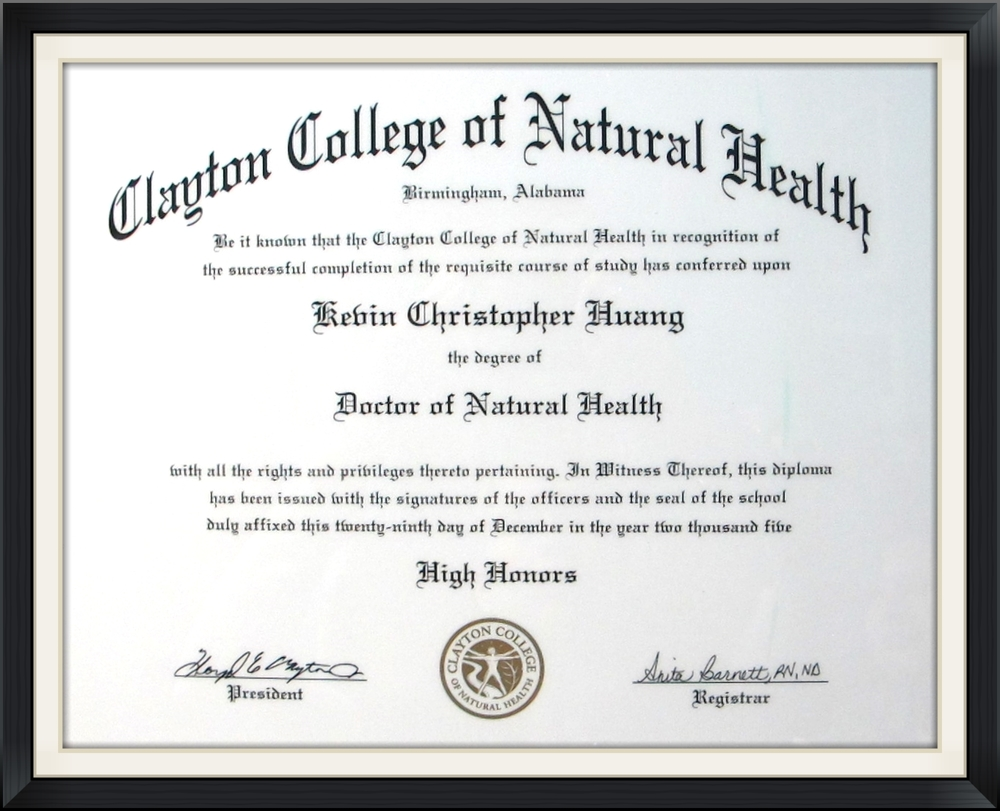 Doctor of Natural Health Kevin Huang
