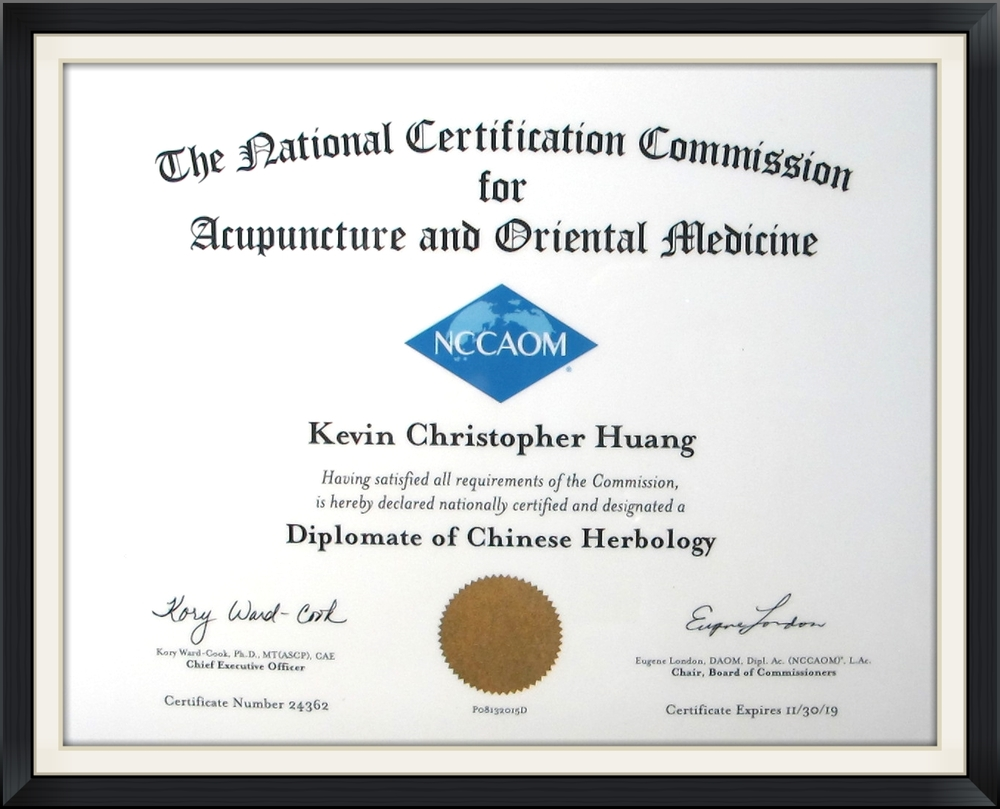 Diplomate of Chinese Herbology - Kevin C. Huang